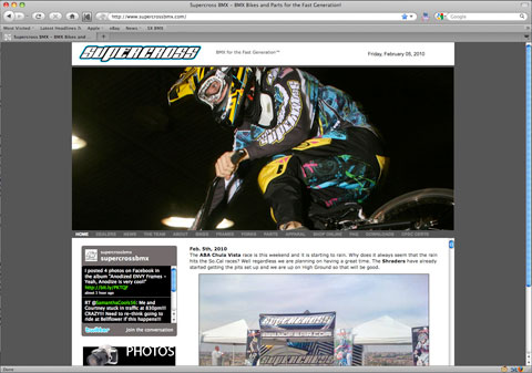 Supercross BMX's new look website