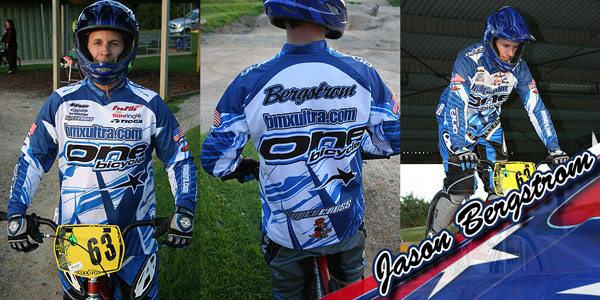 Jason Bergstrom modelling the new bmxultra.com/One Bicycles jersey