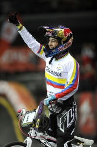 Mariana Pajon (COL) thanks the crowd after her win in the final of the elite womens time trial at the ICU BMX World Championships at Vector Arena, Auckland, Saturday July 27, 2013. (Picture Ross Land)
