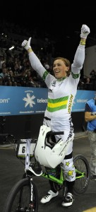 Womens elite gold medalist Caroline Buchanan waves to the crowd following her win in the final at the ICU BMX World Championships at Vector Arena, Auckland, Sunday July 28, 2013. (Picture Ross Land)